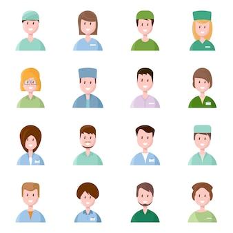 Векторная иллюстрация медицинской и аватара символа. набор доктора и больницы векторный icon