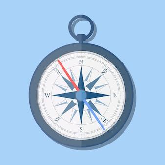 Стильный плоский дизайн компас векторный icon