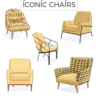 象徴的な椅子手描きイラスト