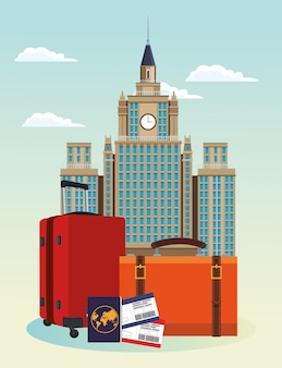 Iconic city buildings and travel suitcases with passport and passboards over sky