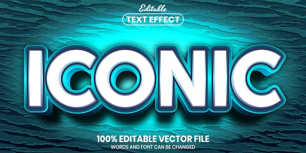 Iconic text, font style editable text effect
