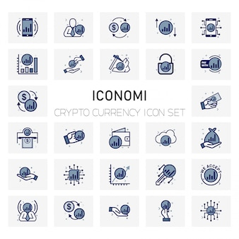 Iconomi coin crypto currency icons set