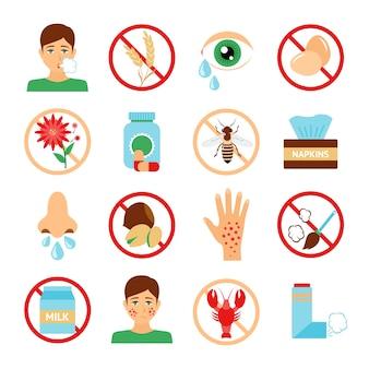 Iconos де diferentes alergias
