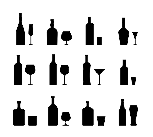 Icons of alcohol bottles beverages and glasses.
