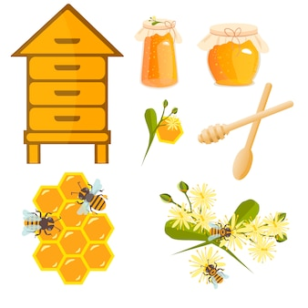 Icons apiaries and bee vector.