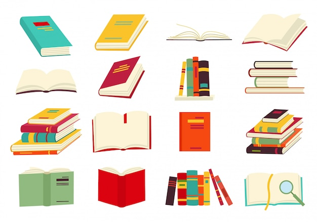 Icons of books vector set
