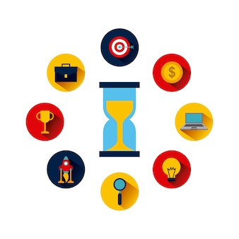 Icons of business and start up concept around sandclock icon