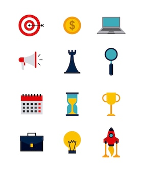 Icons of business and start up concept
