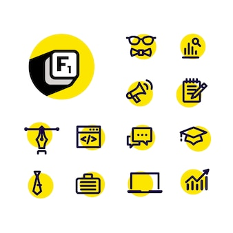 Icons on a business theme. reference data for users.