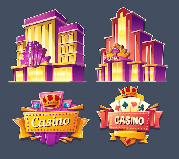 Icons of casino buildings and retro signboards