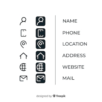 Icons collection for business card