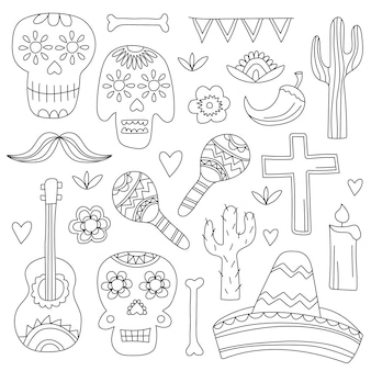 Icons of day of the dead, a traditional holiday in mexico. skulls, flowers