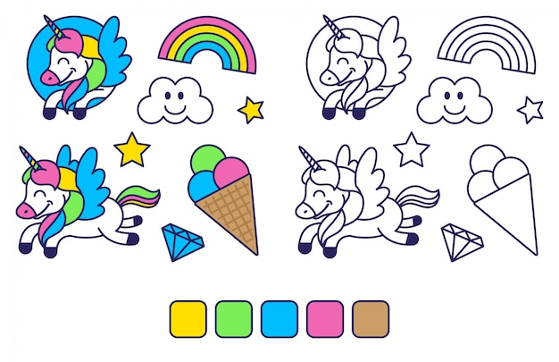 Icons elements set in sticker style coloring for kids education and inspiration with happy fantasy unicorn colorful rainbow sweet ice cream. modern   cartoon character illustration flat design.