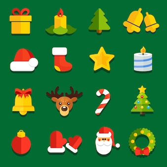 Icons for flat christmas decoration festive sites
