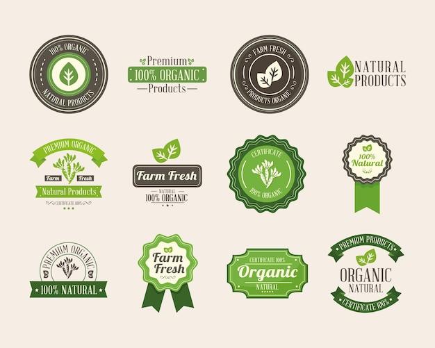 유기농 제품 라벨 아이콘