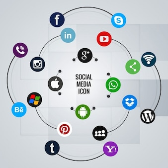 Icons for social networks on a circular composition