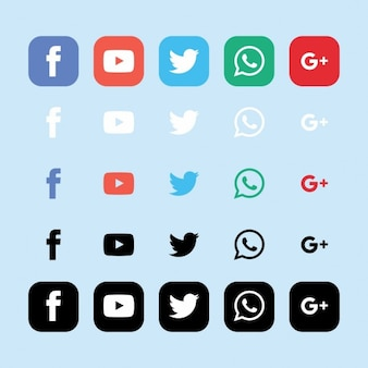 Icons for social networks on a light blue background