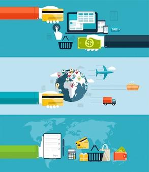 Webおよびモバイルデザイン、seo、商品の配送、航空輸送、水輸送によるアイコン。インターネットやショッピングでの電子決済方法。フラットデザイン