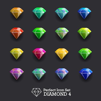 Icons glowing gems, diamonds