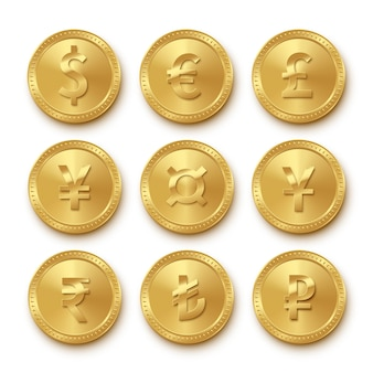 Icons of gold coins with different currencies set, collection symbols of dollar, euro, pound sterling, yen, yuan, rupee, turkish lira, ruble, realistic money signs isolated