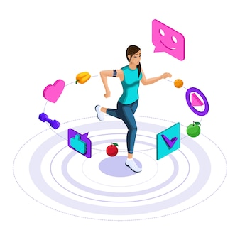 Icons of a healthy lifestyle, the girl is engaged in fitness, jogging, jumping. bright cheerful advertising concept
