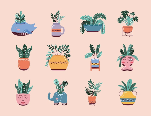 Icons of house plants, scandinavian style