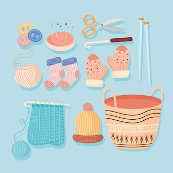 Icons for knit with needles