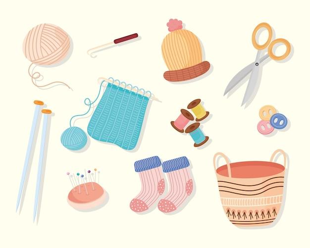 Icons of knitting and yarn