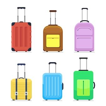 Icons luggage. flat style. suitcases and backpacks.  illustration.
