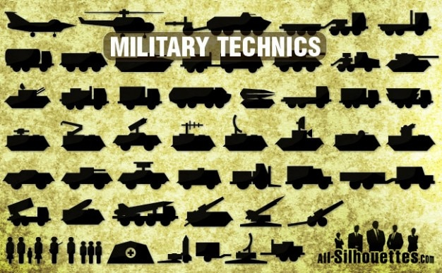 Icons of military technics silhouettes