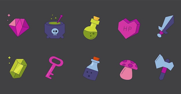 Icons for mobile games fantasy set