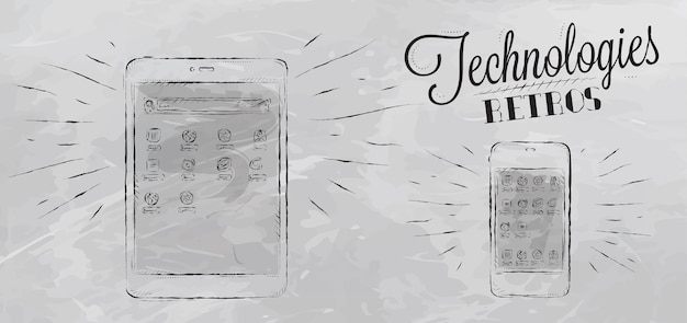 Icons on modern technology mobile tablet device in vintage style stylized under the chalk drawings gray