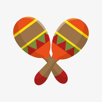 Icons music maracas mexico design