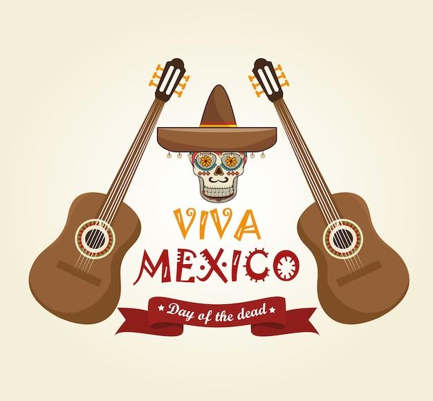 Icons music skull mexico design
