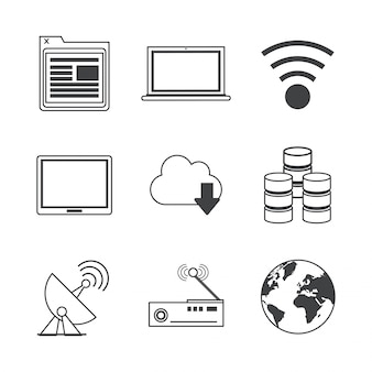 Icons of network broadcasting and storage