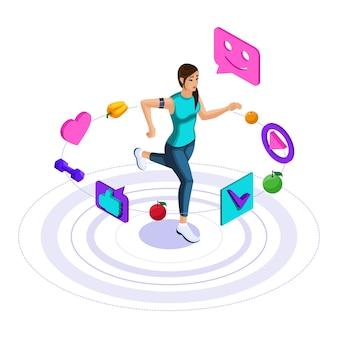 Иконки здорового образа жизни, девушка занимается фитнесом, бегом, прыжками. яркая веселая рекламная концепция