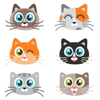 Иконы милые кошачьи лица, изолированные на белом