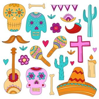 멕시코의 전통 명절인 망자의 날의 아이콘. 두개골, 꽃, 디자인 요소. 손으로 그린 스타일