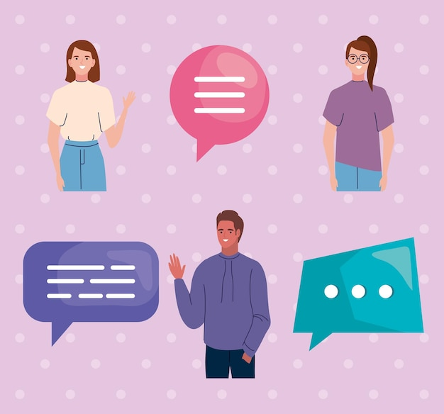 Icons people and speech bubble