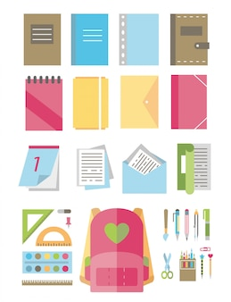 Icons school supplies. set.