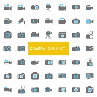 Icons set about cameras