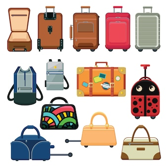 Icons set about suitcases and backpacks.