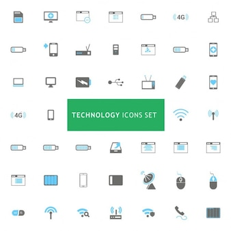 Icons set about technology