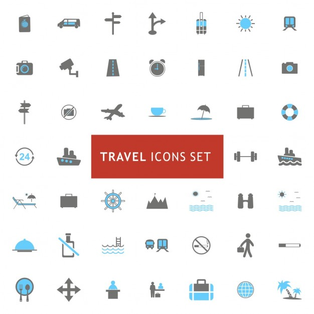 Icons set about travel elements
