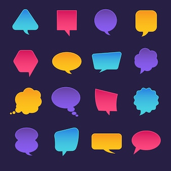 Icons set bubble message for text.  illustrations.
