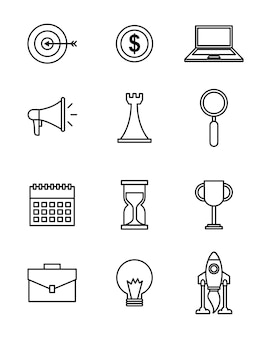 Icons set of business and start up concept