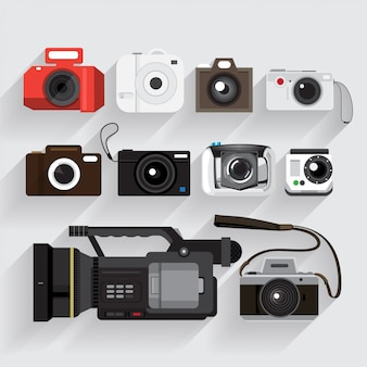 Icons set camera and video recorder   style.
