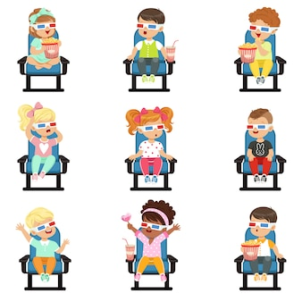 Icons set of cute little children in -glasses