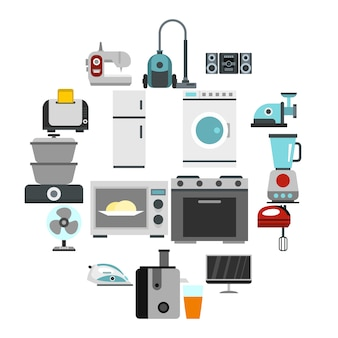 Icons set in flat style. set collection vector illustration
