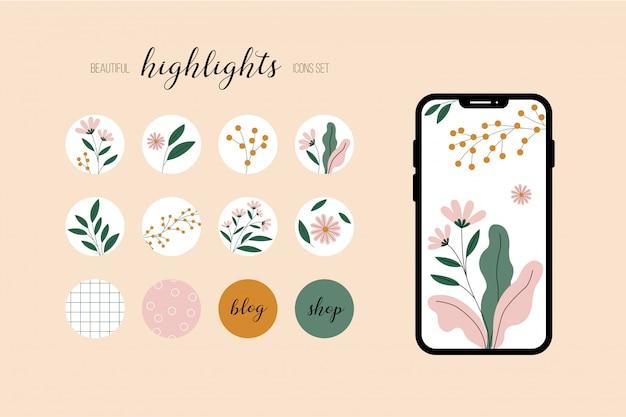 아이콘을 설정합니다. 소셜 미디어, 블로그 또는 상점을위한 꽃 무늬 디자인.